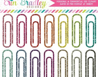 80% OFF SALE Glitter Paperclips Clipart School Clip Art Office Supply or Work Graphics in Glittery Colors Personal & Commercial Use