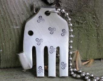 Elephant Necklace, Fork Necklace, Silver Elephant Necklace, Upcycled Necklace, Silverware Necklace, Animal Lover