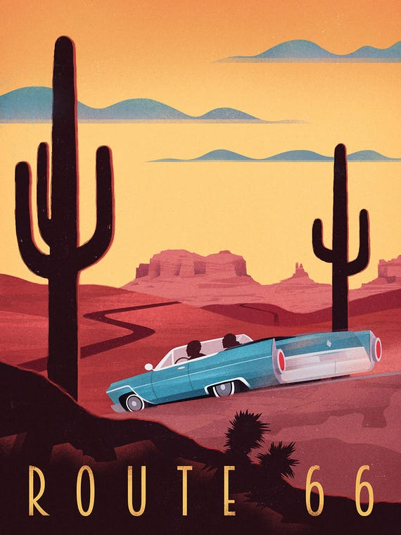 Vintage Travel Poster Route 66 Wall Art