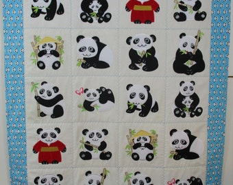 "Machine Embroidered Baby Quilt, Baby Pandas, Crib Quilt, Baby Quilt, Handmade Baby Quilt - Pandas - approx 38"" x 46"""