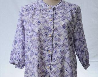 Vintage purple round neckline 3/4 sleeve cotton blouse