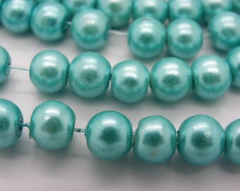 100 beads 8 mm Pearl glass 8 mm blue turquoise Pearl 5-1 mm hole