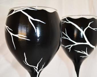 Halloween Wine Glass Batty Moon Hand Painted Large White Wine