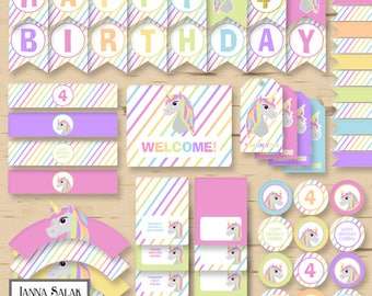 Unicorn Birthday Party Package Printable Ages 1-10 Pastel Rainbow Diy INSTANT DOWNLOAD PDF UN01