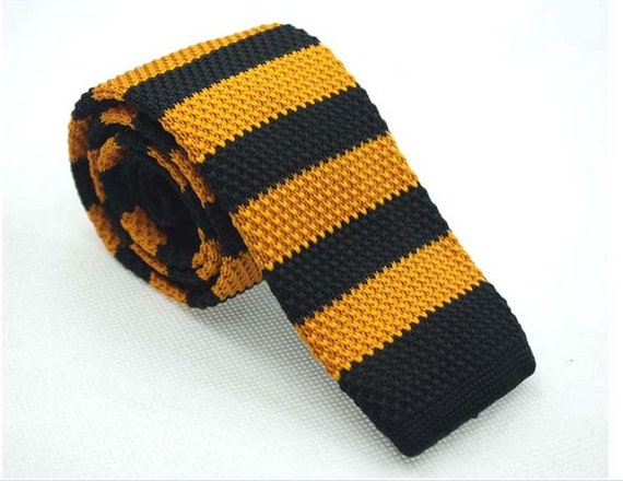 Orange And Black Stripes Knit Necktie Itted Ties For