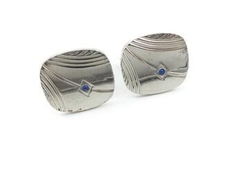 Vintage Blue Rhinestone Cuff Links, Silver Tone
