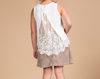 lace backed cotton top. gorgeous lace and cotton girls top. Arabella lace and cotton top.