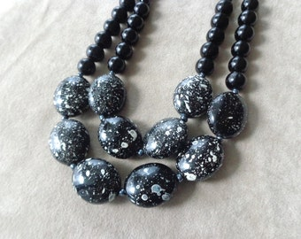 Black white statement necklace double strand