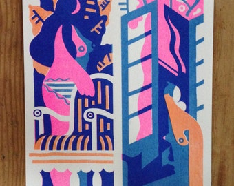 Two Women (Three-Color Risograph 11 x 17)