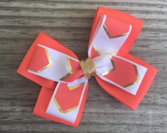 Coral Gold and White Bow