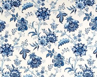 Blue floral Shower curtain. Shades of Blue Cream 72 x 84 108 long shower curtain. Extra wide shower curtain. Custom shower curtain