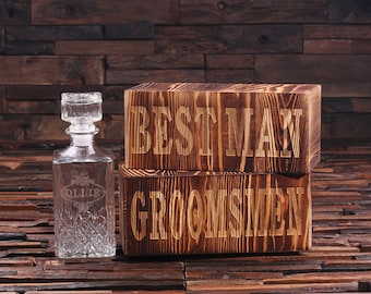 Set of 6 Personalized Engraved Etched Whiskey Scotch Decanter w/ Box Bottle Groomsmen, Man Cave, Just Married, Christmas Gift Him (024939)