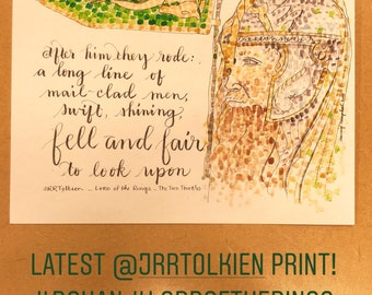 Lord of the Rings FellandFair Rohan Fandom FanArt Print of a handlettered watercolor original painting JRRT Tolkien LOTR