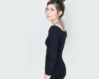 Scoop Neck Top | Quarter Sleeve | Beach Shirt | Quarter Sleeve | Black Jersey | Boho Minimalist | Made in our loft | L415 & Co (#415-311)