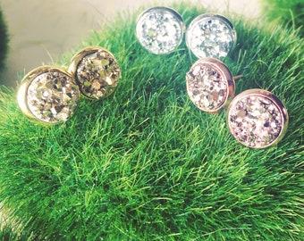 Tiny druzy stud earrings, druzy stud earrings, druzy earrings, 8mm