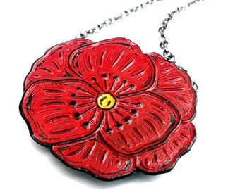 Red Poppy Necklace, Red Flower Necklace, Floral Jewelry, Flower Statement Necklace, Poppy Jewelry, Gift for Mom, Grandma Gift, Gift for Her