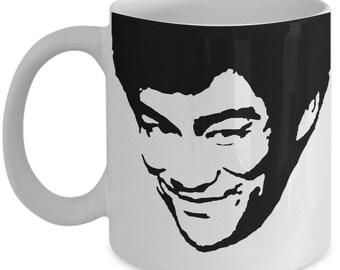 Bruce Lee Smiling Coffee Mug - Martial Arts Gift Friend- Kung Fu Movie Tea Cup