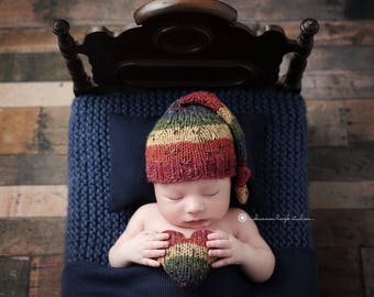 The {Rainbow Tweed}  Long Tailed Sleepy Cap and {Giggles Heart} Plushie Bundles - Options to Purchase at Checkout