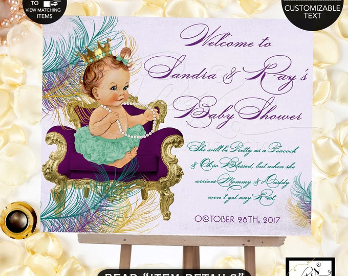 Peacock welcome sign, peacock baby shower printable signs, welcome princess purple and gold, teal lavender gold, DIGITAL FILE ONLY!