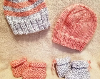 Knit Baby Hat w/ Matching Knit Baby Booties