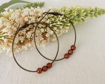5cm bronze hoops,simple brown hoops,lovely big hoops,brown hoop earrings,tan hoop earrings,big simple earrings,shiny brown earrings,