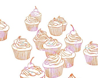 Cupcakes Illustration Art Print - Dessert Art, Cupcake Artwork, Food Art, Cupcake Art Print, Cupcake Painting, Home Decor, Holiday Gifts