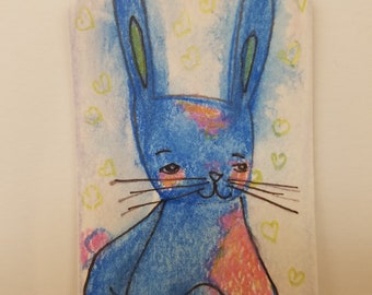 The Blue Bunny and Other Stories Original art on 3x2 watercolor tag