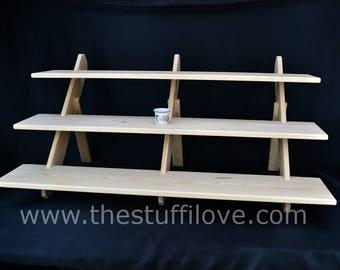 3 Tier Deep Extra Wide Portable Riser Craft fair Display Shelving Stand.
