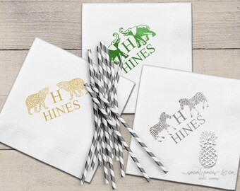 Monogram Cocktail Napkins | Personalized Napkins | Elephant, Zebra or Cheetah Napkins