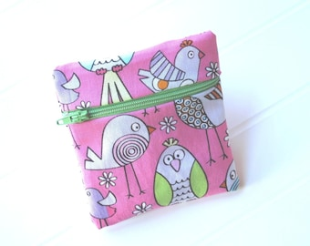 Small pink and green purse with coloured and funny birds