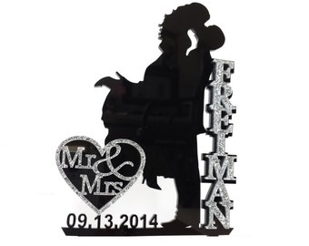 Wedding Cake Topper Silhouette with Name in Glitter, Glam, Bling - FREE Keepsake Display Base - Acrylic Cake Topper [CT18wg]
