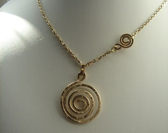 Gold necklace, pendant necklace with spiral, 585 goldfilled