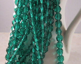PINES 6mm Emerald Firepolish Czech Glass Faceted Round Beads - Green Emerald Kelly Veridian - Qty 25 6-157