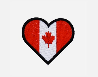 Canadian flag Heart biker embroidery patch
