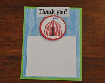 Thank Yous: Circus. Carnival. Big Top. Clown. Elephant. A2 set of 6
