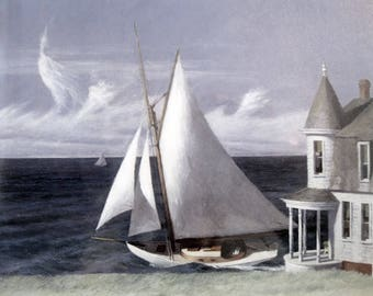 Framed Art Sailboat Print, The Lee Shore by Edward Hopper, Sailboats, Nautical, Ocean Decor,
