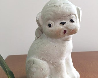 Vintage carnival prize chalkware pup statue 1930s
