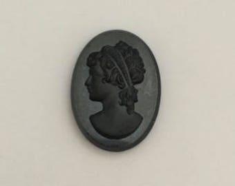 Glass Cameos, Hematite & Black Portrait Cameo, 30x22 mm, 1 pc