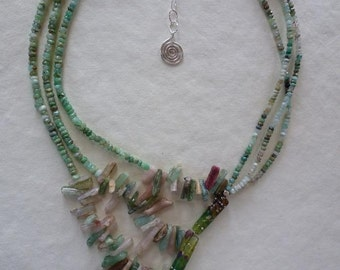 A lovely study in asymmetry balances gems and Art Glass and silver - Go With The Flow Necklace