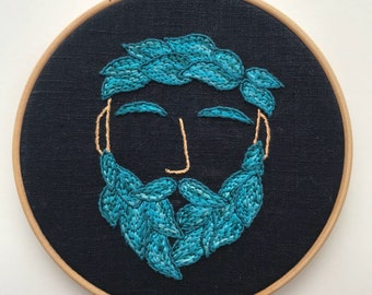 Bearded Man Embroidery Hoop