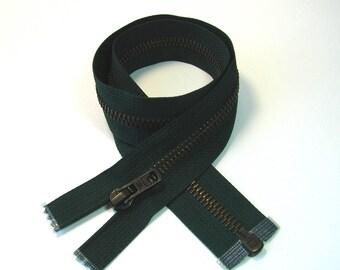 Zipper closure, zipper, 54 cm, detachable, green, mesh metal bronze 6 mm.
