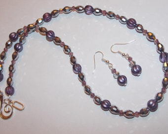 Purple Melon Silver Czech Glass Lavender Czech Glass Bead Necklace and Earrings Set