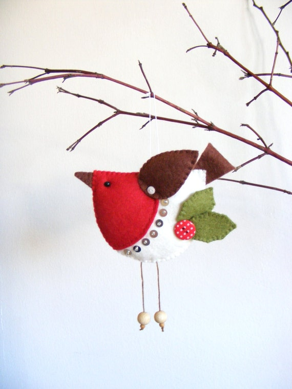 items similar to pdf pattern felt robin christmas tree ornament easy sewing pattern bird. Black Bedroom Furniture Sets. Home Design Ideas