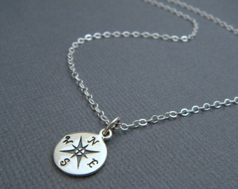 """silver compass necklace. simple everyday jewelry. tiny sterling silver pendant. compass points directions necklace travel traveler gift 3/8"""""""