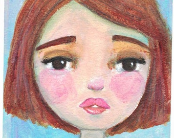 Original Mixed Media Acrylic Girl by Ceville Designs