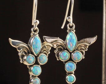 Lovely Blue Fire Opal Sacred Angel Wings 925 Sterling Silver Earrings, 1 1/2 inch Long, 5.3 grams