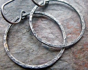 Sterling Silver Hoops on Earwires - Sterling Silver Circle Hoop Dangle Earrings