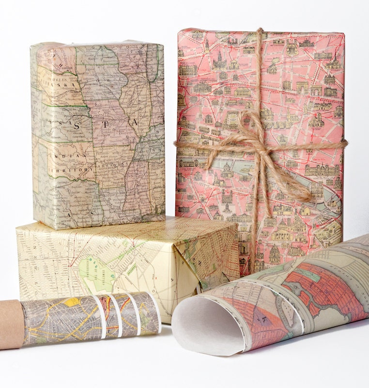 Historic Maps Wrapping Paper / 12 Sheets from NormansPrintery on