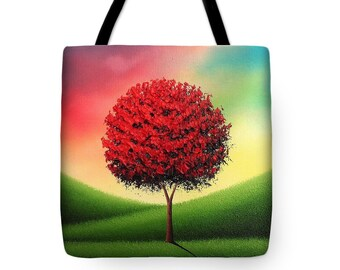 Fall Tote Bag, Autumn Tree Tote Bag, Red Tree Handbag, Tree Art Purse, Yoga Bag, School Bag, Rustic Large Canvas Tote, Library Book Bag