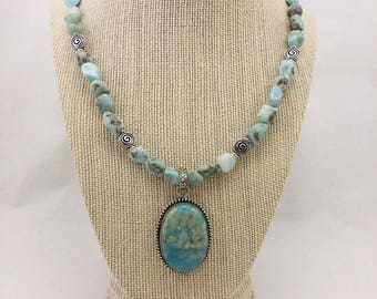 Genuine larimar beaded necklace